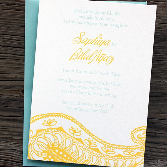 Invitation: Park Avenue South, digitally printed in squash and turquoise inks