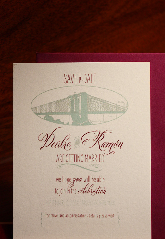 Deidre and Ramon: Pearl Street, save the date digitally printed in eggplant and turquoise inks