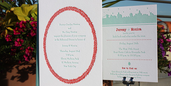 Monica and Jeremy: Riverside Drive with custom art wreath, letterpress printed in persimmon and turquoise on bright white stock
