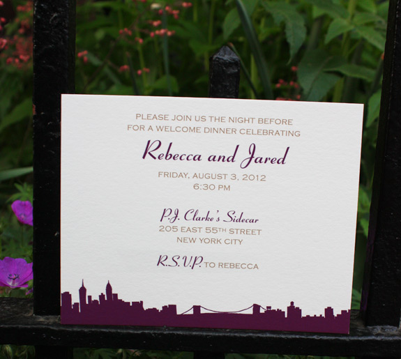 Rebecca and Jared: Riverside Drive, rehearsal dinner invitation digitally printed in copper and eggplant