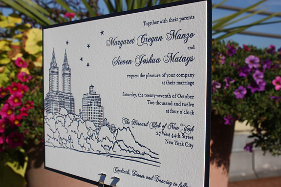 Margaret and Steven: San Remo wedding invitation with navy backer