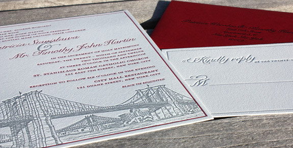 Patricia and Timothy: Seaport, letterpress printed in cranberry and pewter with red envelope