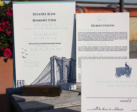 Hyemi and Robert: Vinegar Hill, invitation letterpressed, other pieces digitally printed in navy and turquoise with pool envelopes