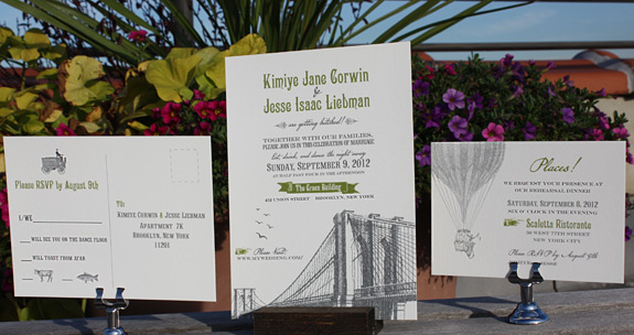 Kimiye and Jesse: Vinegar Hill images with Washington Square layout, digitally printed in charcoal, willow and pewter