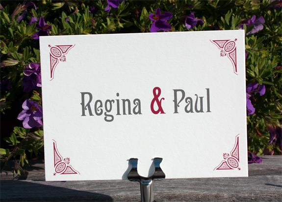 Regina and Paul: thank you card, digitally printed