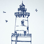 Candace and James: thermography printed invitation suite with custom lighthouse line art
