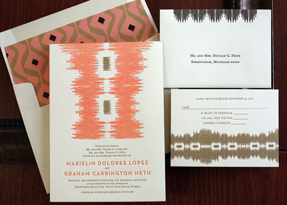 Marielin and Graham: ikat patterned invitation suite with tribal pattern liner letterpress printed