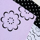 Alexandra: Bat Mitzvah invitation with floral motif, pocket with windows and polka dot liner