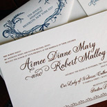 Aimee and Robert: wedding suite with copper foil stamping and navy letterpress with rounded corners