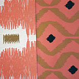 Marielin and Graham: ikat patterned invitation suite with tribal pattern liner, letterpress printed