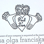 Lisa and Paul: one color letterpress invitation on square museum board with customer-supplied motif