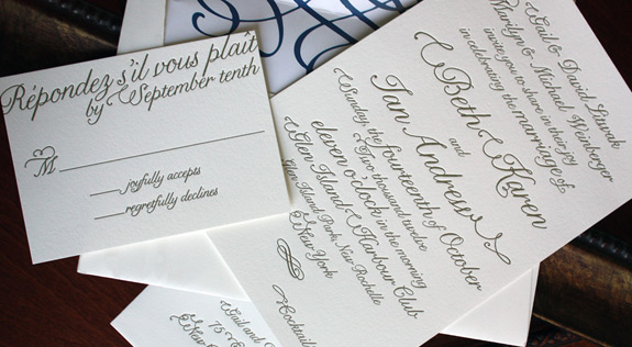 Beth and Ian: gold letterpress invitation with digitally printed liner