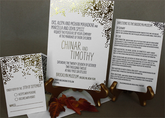 Chinar and Timothy: gold foil and black ink invitation suite on ivory paper with patterned liner