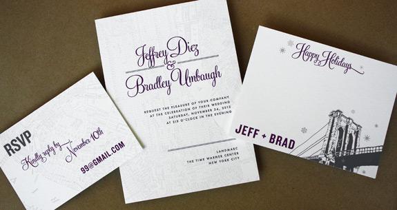 Jeffrey and Bradley: PostScript Brooklyn designs digitally printed in eggplant, charcoal and nickel