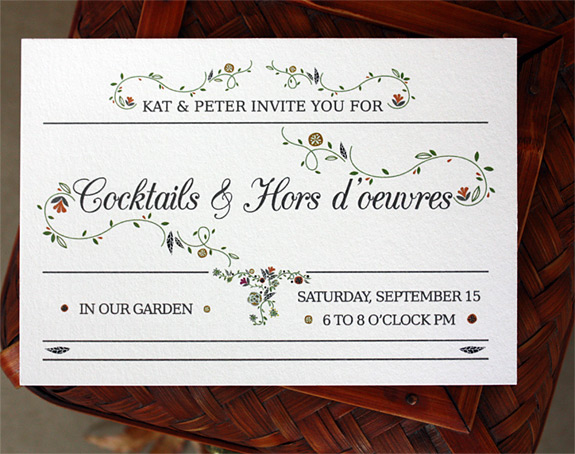 Kat and Peter: charming floral vine design digitally printed on cotton paper