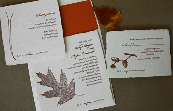 Kellye and Anja: botanical themed wedding suite in chocolate ink letterpressed on cream paper and persimmon liner