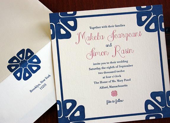Makeba and Simon: 2 color letterpress invitation and envelope