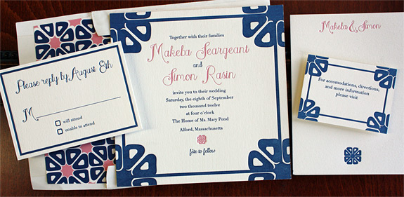 Makeba and Simon: 2 color letterpress invitation suite with patterned liner and thank you card