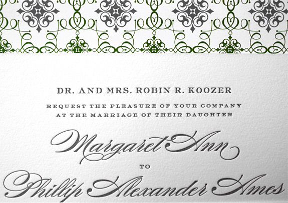 Margaret and Phillip: invitation and envelope liner