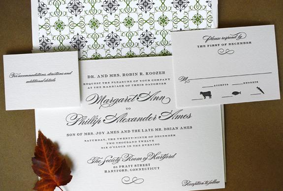 Margaret and Phillip: 1 color letterpress with patterned liner