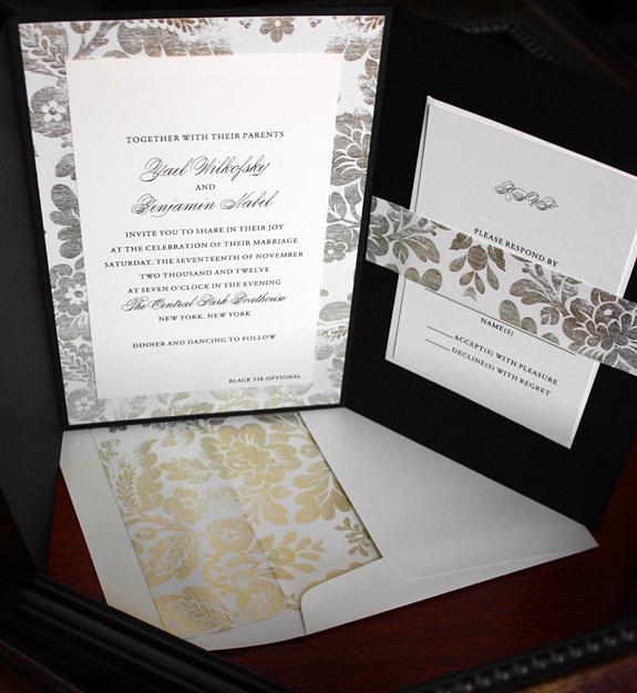 Yael and Benjamin: custom pocketfold invitation with belly band and vintage liner