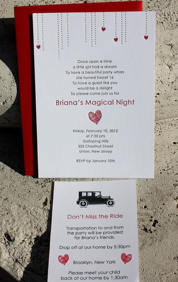Briana: Letterpress Sweet 16 Invitation