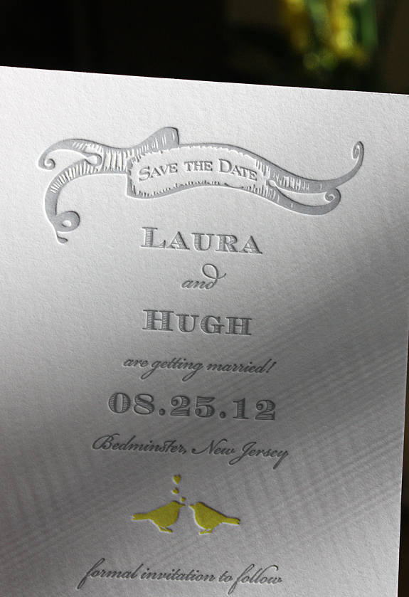 Laura and Hugh: save the date letterpress printed, custom design based on Gramercy Park suite from the PostScript Brooklyn collection