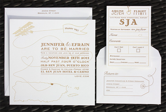 Jennifer and Efrain: custom invitation for destination wedding in Puerto Rico using the Come Fly with Me suite from PostScript Brooklyn