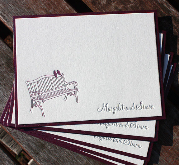 Margalit and Simon: thank you cards letterpress printed with backer featuring park bench design from York Street suite exclusively from PostScript Brooklyn