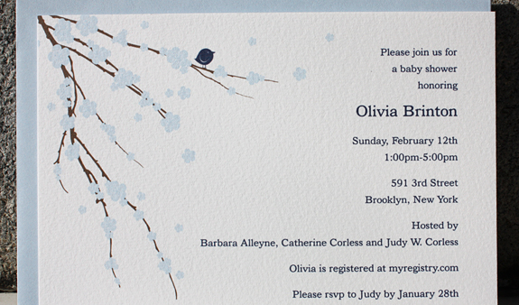 Olivia: baby shower invitation in navy, bluebell and chocolate inks