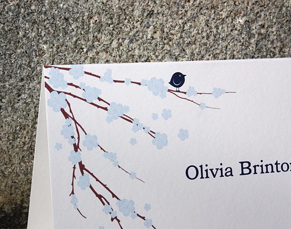 Olivia: folded thank you card