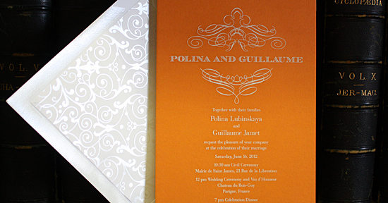 Polina and Guillaume: orange card stock engraved in white with florentine liner