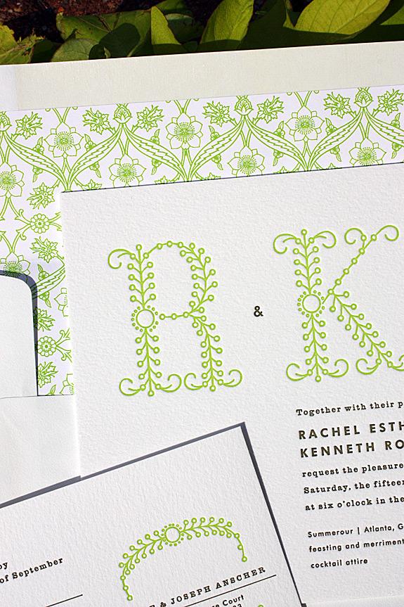 Rachel and Kenneth: Green Letterpress Details