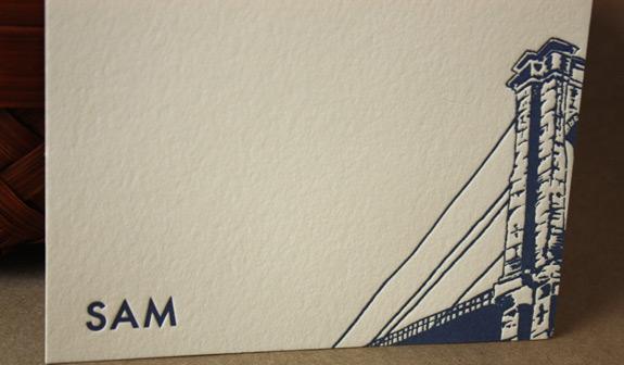 Sam: letterpressed thank you card