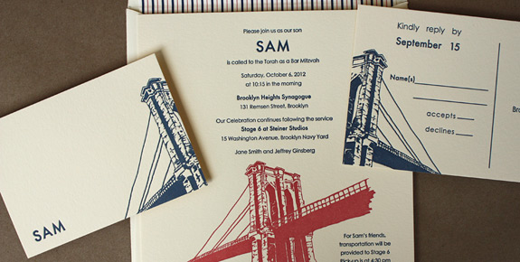 Sam: Bar Mitzvah invitation letterpressed in persimmon and navy inks on ecru paper, with reply postcard and striped liner.  Front Street design from PostScript Brooklyn.