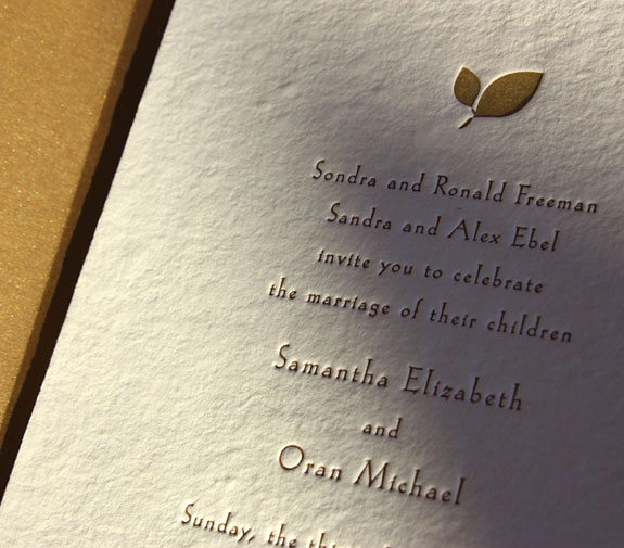 Samantha and Oran: wedding invitation and liner