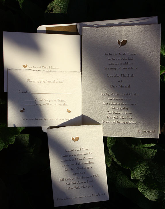 Samantha and Oran: letterpress in copper ink on cream handmade paper with deckle edge and customer provided leaf motif