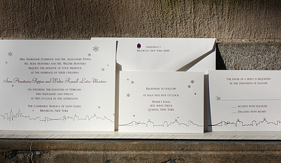 Sara and Walter: winter over New York City skyline suite printed in thermography in silver and plum ink