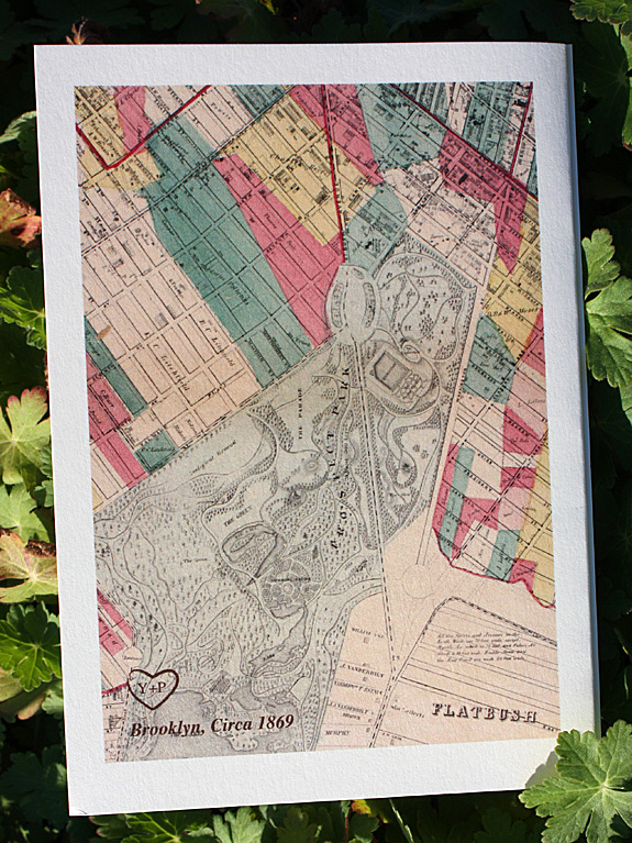 Yabome and Peter: vintage Brooklyn map