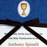 Communion invitation printed with in-store graphics