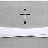 Communion invitation on silver card stock with ribbon