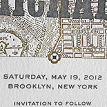 Jackie and Michael: save the date letterpressed with vintage map of lower Manhattan and Brooklyn