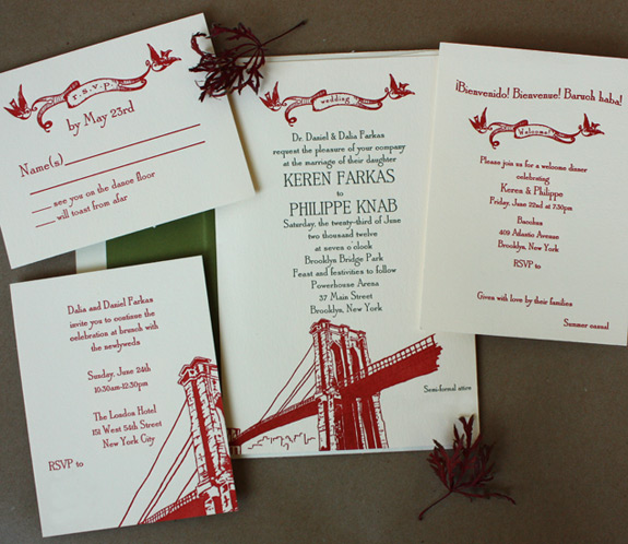 Keren and Philippe: Front Street {custom}, letterpress printed in moss and persimmon on ecru paper