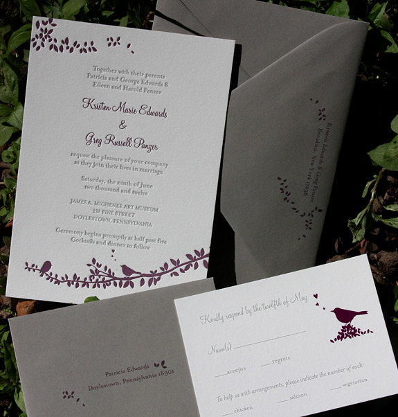 Kristen and Greg: Gramercy Park, letterpress printed in eggplant and pewter on soft white paper with gravel envelopes