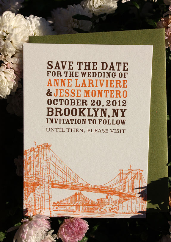 Anne and Jesse: Seaport  save the date digitally printed in pumpkin and chocolate inks with moss envelope