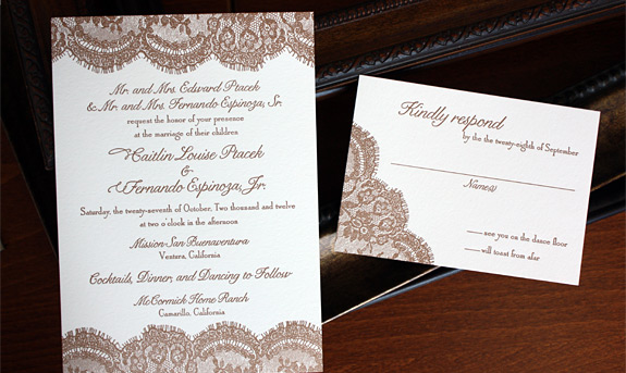 Caitlin and Fernando: Sutton Place, letterpress printed in copper on soft white paper