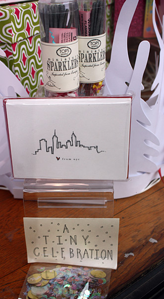 New York themed Valentine's Day Cards at Lion in the Sun of Park Slope, sparklers and confetti