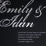 Emily and Idan: silver foil stamped on black museum board