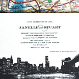 Janelle and Stuart: letterpressed Manhattan skyline photo with subway map liner on double thick paper
