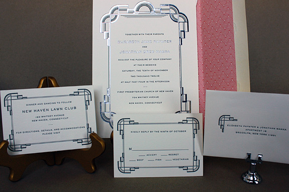 Elizabeth and Jonathan: art deco wedding invitation suite with silver foil stamp, black letterpress and patterned liner